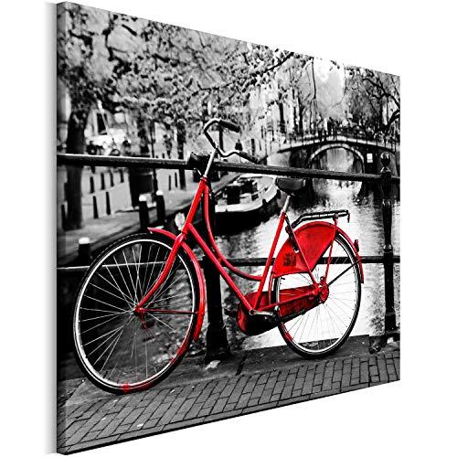 Revolio 70x50 cm Leinwandbild Wandbilder Wohnzimmer Modern Kunstdruck Design Wanddekoration Deko Bild auf Leinwand Bilder 1 Teilig - Amsterdam Fahrrad Brücke rot schwarz-Weiss