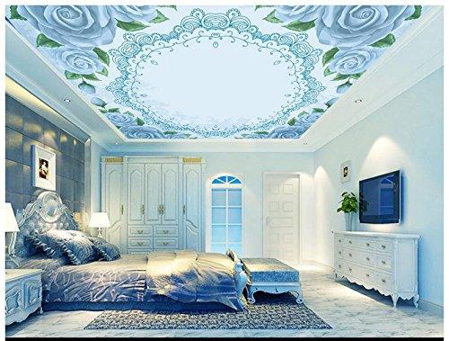 Mznm 3D plafond behang 3D behang 3D plafond muurschilderingen Europa Type herstellen oude manieren is blauw Rose plafond fresco's muur 400 x 280 cm.