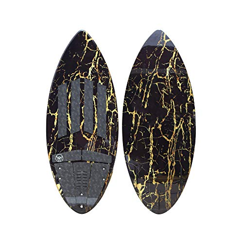 South Bay Board Co. - Wakesurf Boards - 52' Long in Black/Gold Marble - Rambler Premium Performance Wake Surfboard - 3-Fin Thruster Setup & Pre-Installed Deck Traction