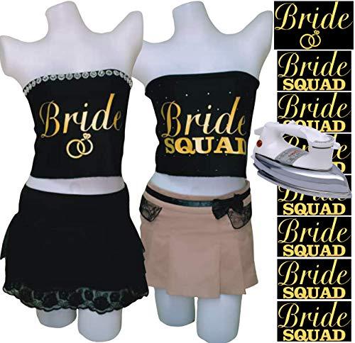 PrinturShirt Bridesmaid Shirts   Engagement Shirts   Bridal Party Shirts   Bachelorette Shirts Team Bride   Bride Iron On Heat Transfer Vinyl Set, 8pcs, 5 by 9 Inch, Gold, - Easy To Use, Savings