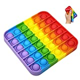 Push pop Bubble Sensory Fidget Toy Autism Special Needs Stress Reliever - Great for The Old and The Young (Square, Rainbow)