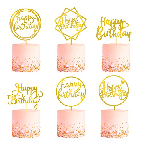 6-Pack Gold Birthday Cake Topper Set, Double-Sided Glitter, Acrylic Happy Birthday Cake Toppers /Cupcake Toppers, Birthday Decorations for Children or Adults.