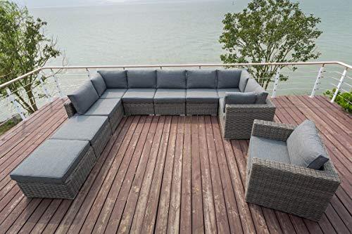 OUTFLEXX Loungemöbel-Set, grau aus Polyrattan-Geflecht, 10 Personen, mit Sessel, verstellbare Sitzflächen, wasserfeste Kissenbox