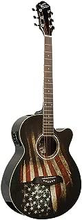 NEW Oscar Schmidt OG10CE-LAG Concert Size Acoustic Electric Guitar with USA Flag Graphic