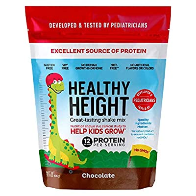 Healthy Height Kids Protein Shake Mix. Great Tasting Nutritional Drink that Helps Kids Grow with 12 g Protein, Vitamin C and Zinc. Gluten Free and Soy Free.