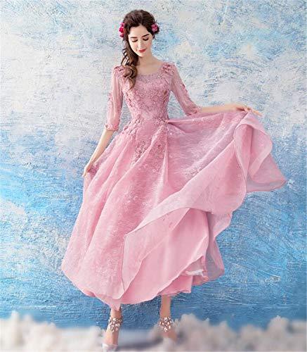 LYJFSZ-7 Hochzeitskleid,Elegantes Damenkleid Mit Ärmeln, Prinzessin-Stil-Abendkleid, Dreidimensionale Blumenperlen, Pink Brautkleid No.74230