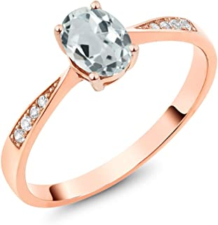 10K Rose Gold Oval Sky Blue Aquamarine and Diamond Women's Ring 0.78 Ctw (Available 5,6,7,8,9)