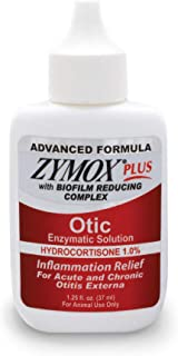 Zymox Advanced Formula Optic Plus Enzymatic Ear Solution for Dogs and Cats with 1% Hydrocortisone, 1.25oz