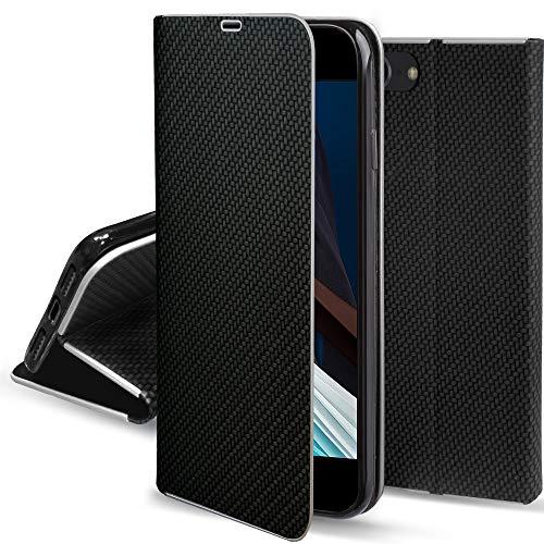 Moozy Funda con Tapa para iPhone SE 2020, iPhone 7, iPhone 8, Carbono Negro – Flip Cover con Bordes Metalizados de Protección, Soporte y Tarjetero