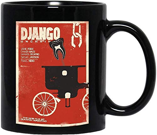 DKISEE Django Movie Unchained Minimalist Films Poster Divertido Meme Disfraz de pelcula, Drama, Sitcom, Tv Show comedia, taza de caf, regalo para mujeres y hombres, tazas de t de 12 onzas