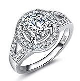 Wenbin Fashion Women's 925 Sterling Silver Round Cut Morgan Stone Swarovski Crystal Birthstone Ring Round Single Diamond Shiny Crystal Ring Wedding Jewelry Size 5-10 (US Code 7)