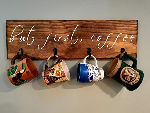 Rea66de rustikales Holzschild But First Coffee Kiefer Custom Palettenkaffeeschild Wandkunst rustikales Schild, Kaffeetassenhalter, rustikaler Becherhalter
