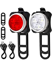 AFUNTA Fiets Koplamp Achterlicht Combinatie, Oplaadbare LED Fietslamp Set met 4 knipperende modi, 2 USB-kabels en 4 riemen inbegrepen – Wit, Rood