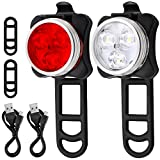 Bicycle Headlight Taillight Combination, AFUNTA Rechargeable LED Bike Light Set with 4 Flashing