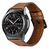 iBazal 22mm Correas Cuero Piel Pulseras Bandas Compatible con Samsung Galaxy Watch 46mm,Gear S3 Frontier Classic,Huawei GT/2 Classic/Honor Magic,Ticwatch Pro Hombres Band (Reloj No Incluido) - Marrón