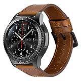 iBazal 22mm Cinturino Pelle Banda Cuoio Band Compatibile con Samsung Galaxy Watch 3 45mm/Gear S3 Frontier Classic SM-R760, Galaxy Watch 46mm SM-R800, Huawei GT/2 Classic,TicWatch PRO - Marrone