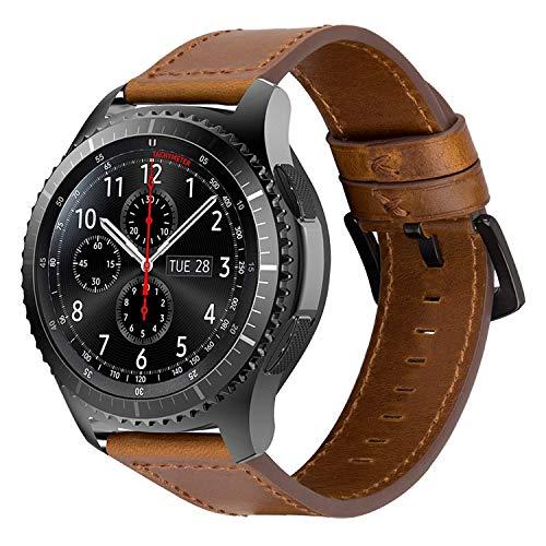 iBazal 22mm Correas Cuero Piel Pulseras Bandas Compatible con Samsung Galaxy Watch 46mm,Gear S3 Frontier Classic,Huawei GT/2 Classic/Honor Magic,Ticwatch Pro Hombres Band (Reloj No Incluido) - Marrón
