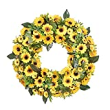 Spring Sunflower Wreath, Front Door Wreath Decoration, wuayi Easter Wedding Festival Party Farmhouse Garden Fireplace Artificial Garland, Window Wall Hanging Ornaments, Home Housewarming Gift