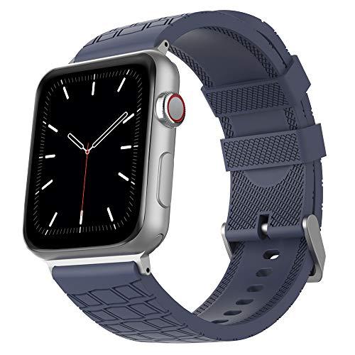 AhaStyle - Cinturino di ricambio in silicone per iWatch, compatibile con Apple Watch 38 mm, 40 mm, 42 mm, 44 mm, iWatch Series 5 (2019), Serie 4, Serie 3, Serie 2, Serie 1 (42 mm/44 mm, Blu notte
