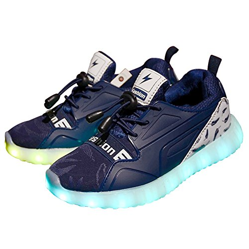 Licy Life-UK Unisex Jung Jungs Mädchen Studenten LED Schuhe Leuchtschuhe Verbesserung 4 Farbe Blinkende Leuchtende Light Up Sneakers(Größe 28-37) (34EU, Dunkelblau)