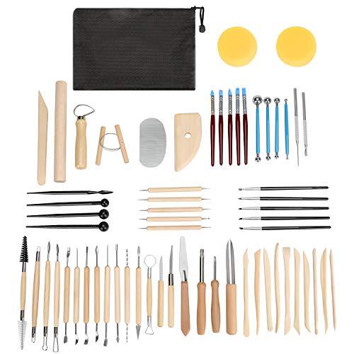 Blisstime - Juego de 62 herramientas de arcilla, herramienta de escultura de cerámica y suministros, mango de madera y cabezal de metal, kit de herramientas de tallado de cerámica
