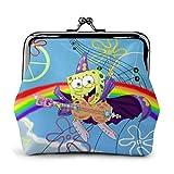 AOOEDM Rainbow Peace And Rock Spongebob Monederos con hebilla de cuero de alta gama Monederos Vintage Bolsa Kiss-Lock Monedero con cambio Monederos Cierre con broche Monedero con hebilla Regalo para m