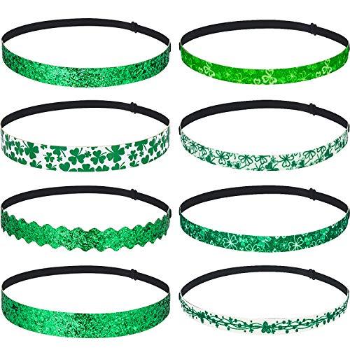 8 Stück Irish Grüne Haarbänder Einstellbare St Elastisch Glitzer Haarband Patrick's Tag Stirnband Grüne Irish Saint Haarband Zubehör Kleeblatt Geschenk Dekorationen für Party (Verschiedene Stile)