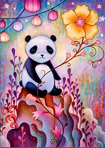Amiiba Kit de pintura de bricolaje por números, 40,6 x 50,8 cm pintura acrílica por número Wall Art Crafts (panda, con marco)