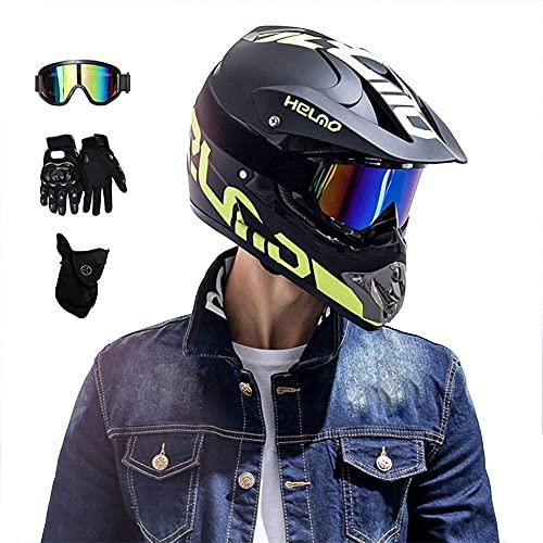 HYRGLIZI Juego de Casco Todoterreno con Gafas, Guantes, máscara, Negro, Verde, Casco de Motocross, Casco de MTB de Cara Completa para niños, Casco de Motocicleta para Adultos, para MX Quad Dirt Scoot
