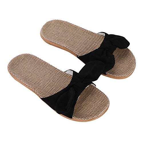 Pantoufles Femmes Sandales Plage Été Antidérapantes Chaussons en Lin Chaussures Salle de Bain Piscine Maison Bureau Mules Nu Pieds Respirant Slipper Pas Cher