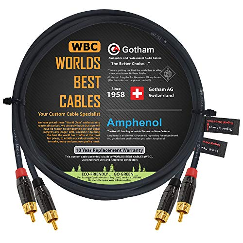 3.5 Foot RCA Cable Pair - Gotham GAC-4/1 (Black) Star-Quad Audio Interconnect Cable with Amphenol ACPL Black Chrome Body, Gold Plated RCA Connectors - Directional