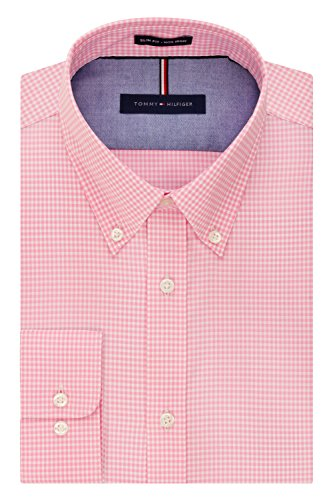 Tommy Hilfiger mens Slim Fit Non Iron Gingham Dress Shirt, Vintage Rose, 15.5 Neck 34 -35 Sleeve Medium US