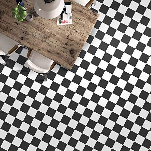 Lámina autoadhesiva para suelo de PVC, 60 x 500 cm, vinilo adhesivo de aprox. 3 ㎡/rollo de lámina mate para baldosas, grosor de 0,35 mm (baldosa negra y blanca)