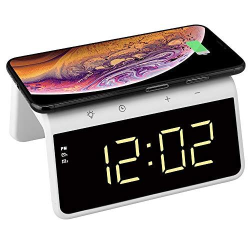 Trådlös laddare för iPhone, Samsung och Android, väckarklocka med Qi trådlös laddare, dimbar skärm, 2 larm och färgändrande nattlampa – TG809 av Think Gizmos
