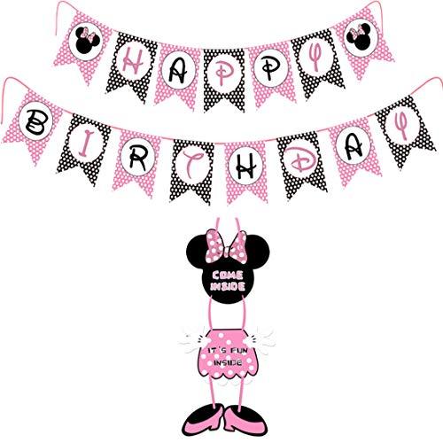 YUESEN Minnie Mouse Decoraciones de cumpleaños temáticas Mickey Minnie Happy Birthday Banner Banderas Guirnalda y cartel de bienvenida Colgador de puerta para Fiesta de cumpleaños Decoración