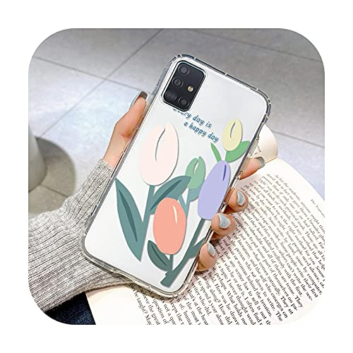 Flower Fashion Clear Soft TPU Cover para Samsung A20E A10S A20S Caso del teléfono para Samsung A01 A02 M02 A10 A10S A11 A12 A21 A21S-O114-para Samsung A01