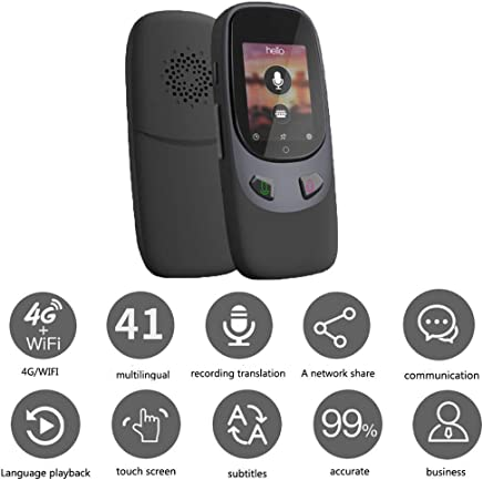 B&H-ERX Dispositivo de traductor de lenguaje de Voz instantánea, Inteligente de Dos vías WiFi 41 Idiomas traducción portátil para el Aprendizaje de Viajes de Negocios de Negocio-Negro