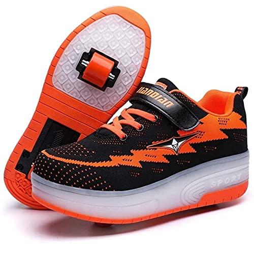 Unisex Led Luz Automática de Skate Zapatillas con Ruedas Zapatos Patines Deportes Zapatos USB Carga, para Niños Niñas (Color : Black, Size : 33 EU)