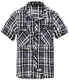 Brandit Roadstar - Camisa Casual - con Botones - Manga Corta - para Hombre - Negro, a Cuadros - XXL