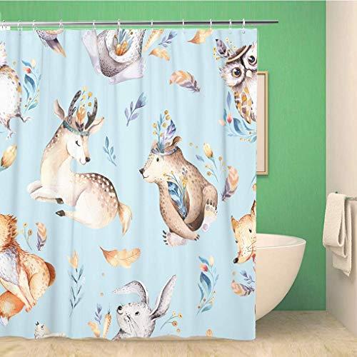 ABRAN Conjunto Cortina Ducha Ganchos Baby Animals