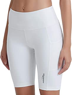 COOLOMG Women's Yoga Capri Pants Compression Sports Leggings Workout Running Tights Non See-Through Side Pocket