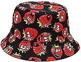 Sombrero de Pescador de Fresa para Adultos Sombrero de Pescador de Playa de Viaje con Estampado Rosa Sombrero de Pescador de Doble Cara de ala Ancha para Mujer 's Men' s-Strawberry Deep Black