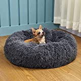 BEAUTYHB Calming Dog Bed, Anti Anxiety Round Fluffy Dog and cat Sofa, Original Calming Dog Bed for Small Medium Large Pets, Warm and Washable Dog and cat Bed (Medium 24'' x 24'', Dark Bule)
