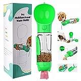 LEcylankEr 4 in 1 Bottiglia Portatile Per Cani 300ml(Pala di Merda,Scatola di Cibo Per Cani,Sacco Per la Spazzatura Per Animali Domestici) Certificazione FDA,Senza BPA (verde)