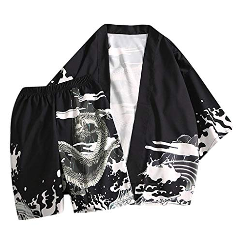 UINGKID Herren Jogginganzug Trainingsanzug Overall Jumpsuit Shirt Hose Fitness Mode-Liebhaber Individualität Print Top Bluse Kimono Hot Spring Kleidung Anzug
