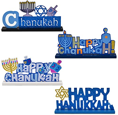 Happy Hanukkah Table Topper Decorations Set of 4 Menorah Star of David Festival of Lights Candles Centerpiece Wooden Signs Gifts for Judaic Desk Shelf Display Holiday Home Party Supplies Decorations