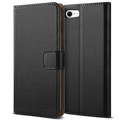 HOOMIL Handyhülle für iPhone SE 2020 Hülle, [Kabelloses Laden] Premium Leder Flip Hülle Cover Schutzhülle für Apple iPhone SE 2020 Tasche, Schwarz