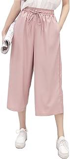 ELPIS レディース カラフル プチプラ カジュアル 7分丈 ガウチョ パンツ ワイド パンツ スカンツ スカーチョ キュロット ウエスト ゴム 5色 S M L XL(ピンク,L)