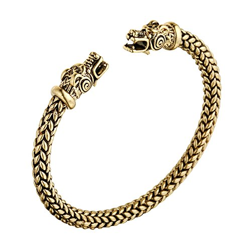 AOCHEE Norse Viking Double Dragon Head Twisted Bracelet Arm Ring Bangles Adjustable Men's Jewelry (Gold)