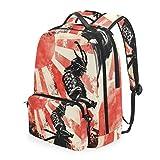 CPYang mochila escolar japonesa Samurai rojo sol desmontable hombro Crossbody bolsa de viaje portátil Backapck para niñas niños mujeres hombres